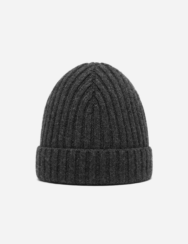 Bhode Rib Beanie Hat (Lambswool) - Charcoal Grey
