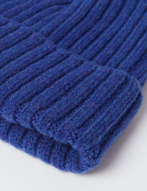 Bhode Rib Beanie Hat (Lambswool) - Persian Blue