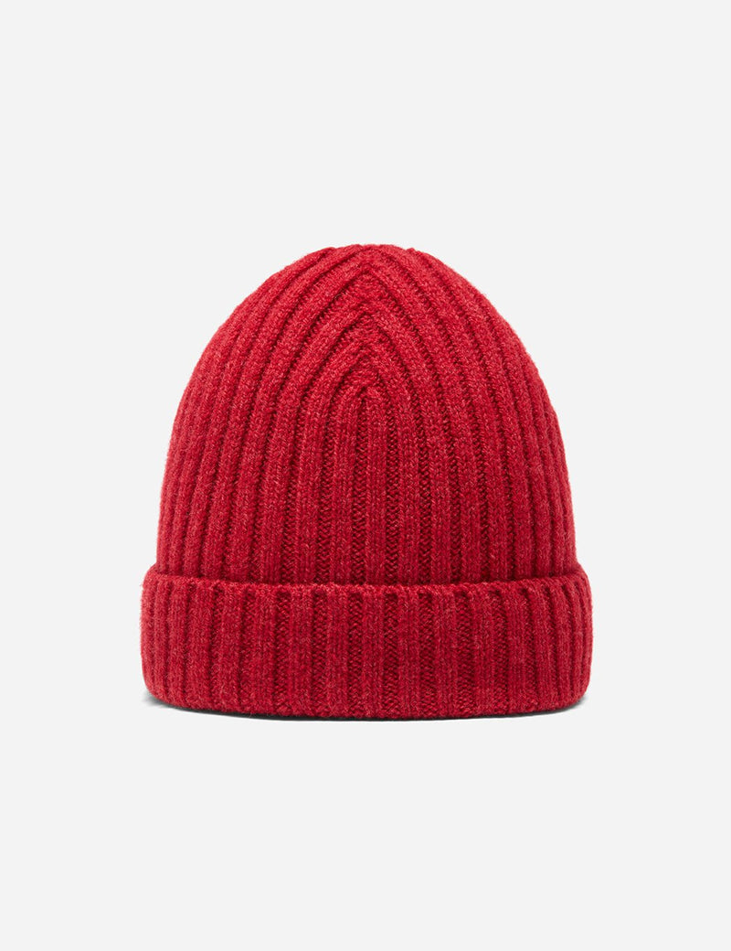 Bhode Rib Beanie Hat (Lambswool) - Poppy Red Melange
