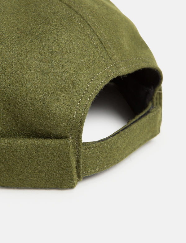 Bhode Dock Worker Hat (Wool) - Olive Green
