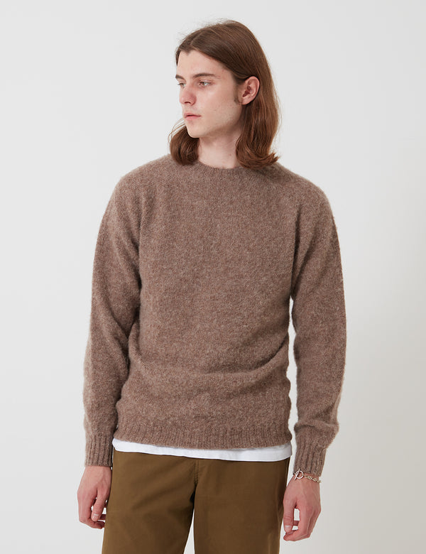 Bhode Supersoft Lambswool Jumper (Made in Scotland) - Nutmeg Brown