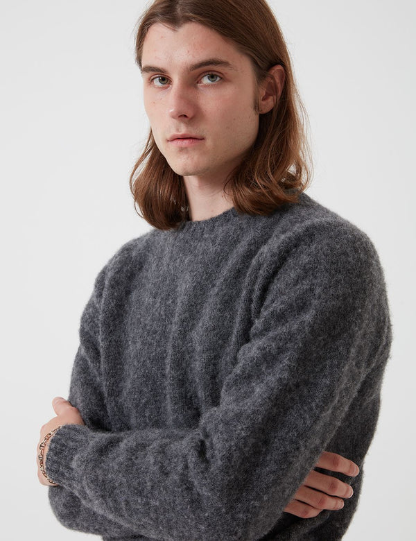 Bhode Supersoft Lambswool Jumper (Hergestellt in Schottland) - Oxford Grey