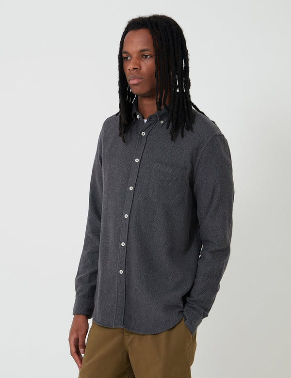 Bhode Classic Button Down Shirt (Cotton) - Charcoal Grey