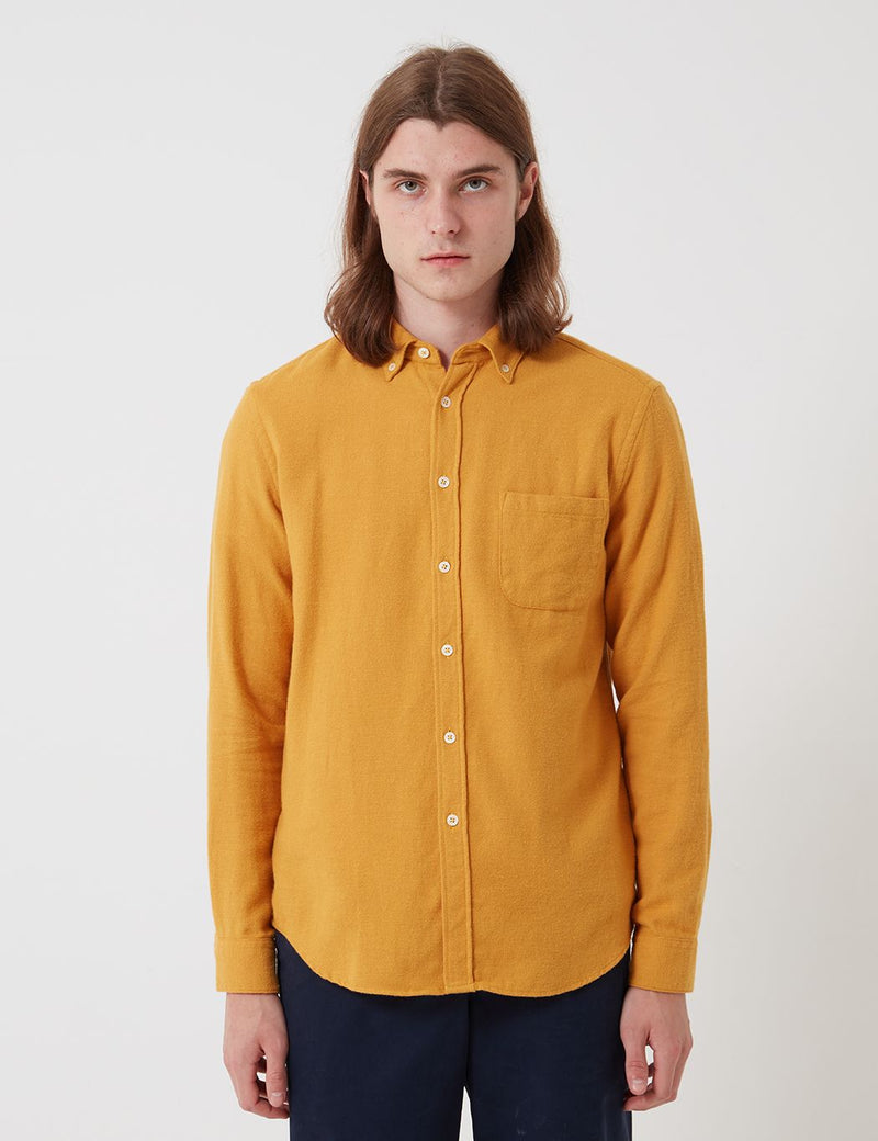 Bhode Classic Button Down Shirt (Cotton) - Mustard