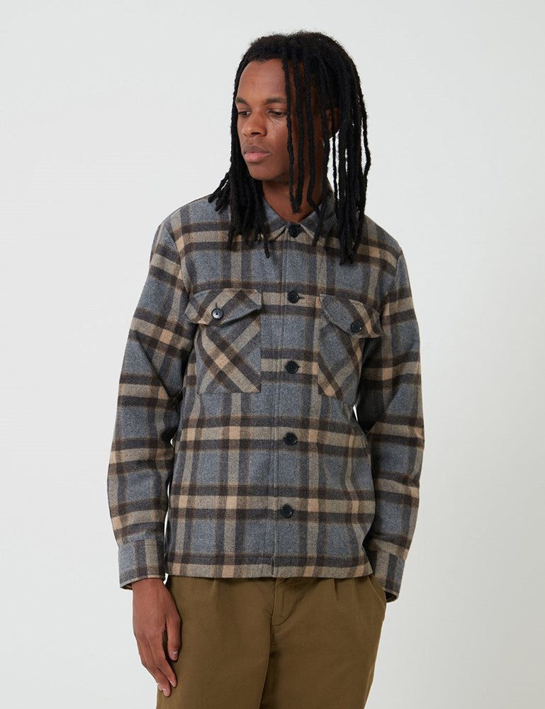 Bhode  Check Over Shirt (Italian Wool) - Grey/Brown