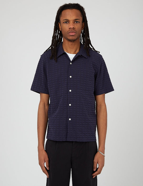Bhode Cuca Cuban Collar Shirt (Seersucker) - Navy Blue