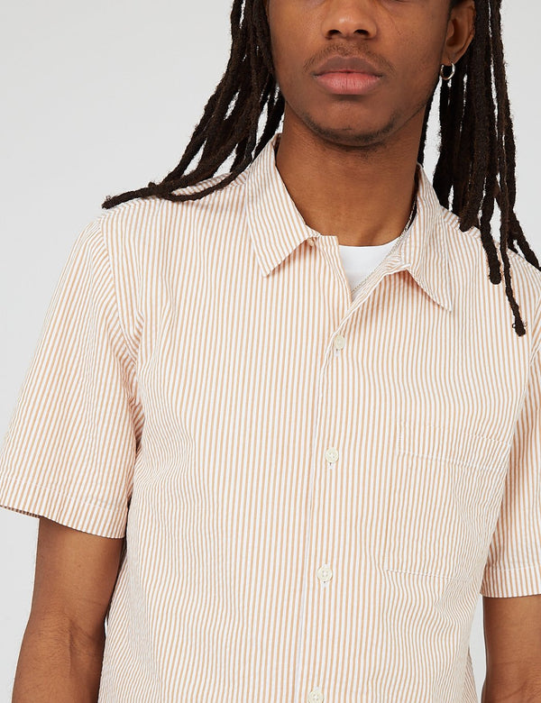 Bhode Cuca Stripe Cuban Collar Short Sleeve Shirt (Seersucker) - White/Cinnamon