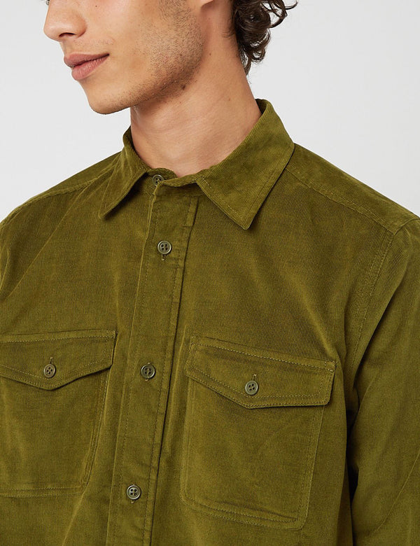 Bhode x Brisbane Moss Vintage Work Shirt (Cord) - Grass Green
