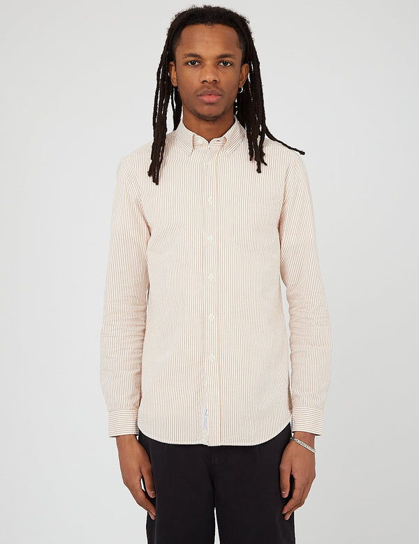 Bhode Maine Button Down Shirt (Seersucker) - White/Cinnamon
