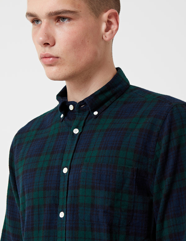Portuguese Flannel Bonfim Checked Shirt - Navy