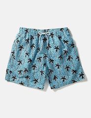 Boardies Flair Palm Swim Shorts (Mid-Length) - Blue