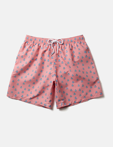 Boardies Polka Zen Swim Shorts (Mid-Length) - Pink