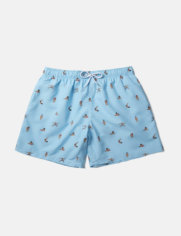 Boardies x AMH Yoga Swim Shorts (Short) - Blue