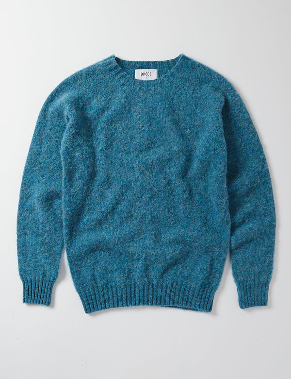 Bhode Supersoft Lambswool Jumper (Made in Scotland) - Azure Blue