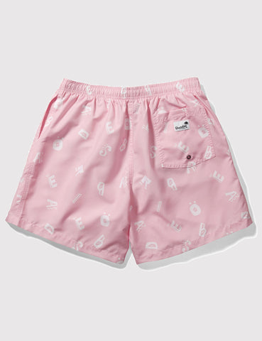 Boardies Alpha Drawstring Swim Shorts (Short Length) - Pink