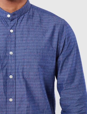 Portuguese Flannel Cafe Collarless Shirt - Blue