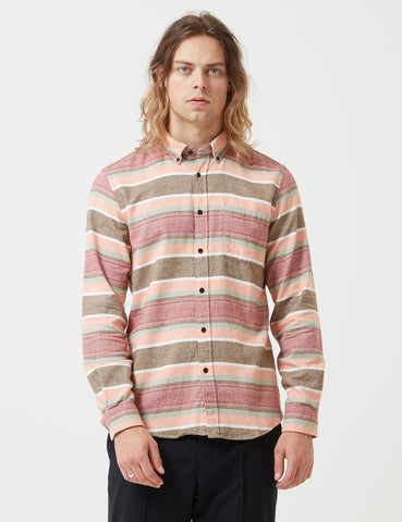 Portuguese Flannel Cahita Stripe Shirt - Pink/Brown/Red