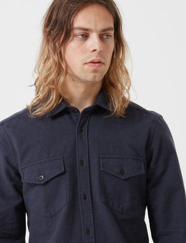 Portuguese Flannel Campo Shirt - Navy Blue