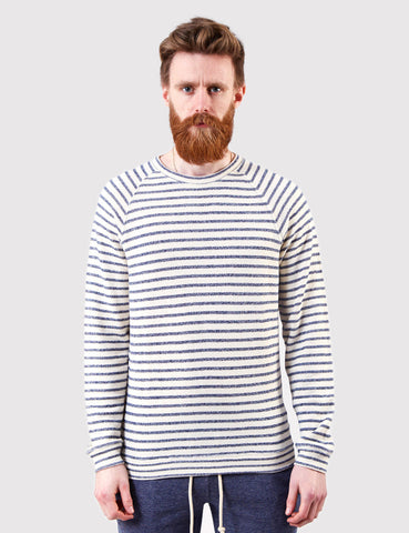 Human Scales Carlos Blue Stripe Sweatshirt - Ecru/Blue