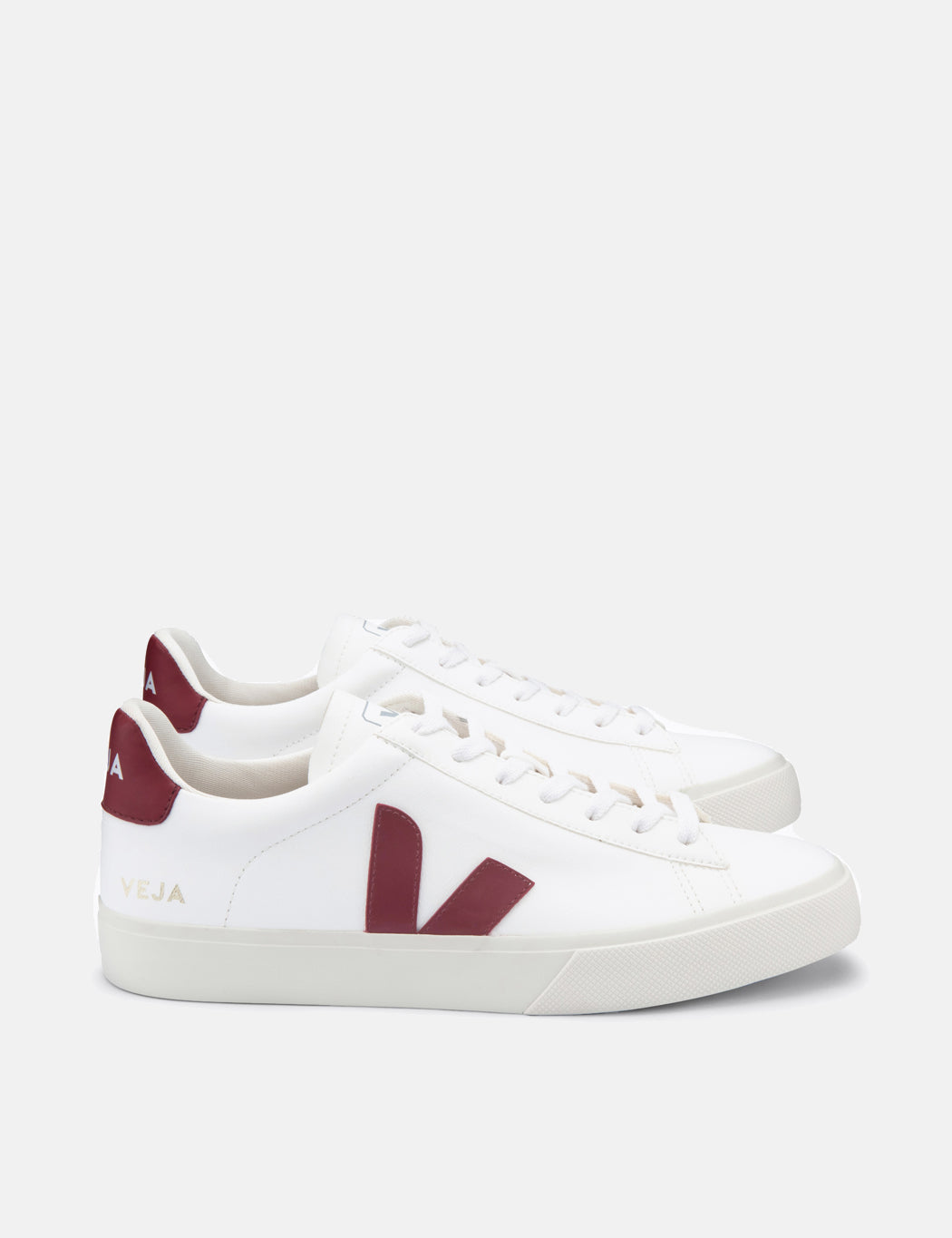 Veja Campo Trainers (Chrome Free Leather) - White/Marsala