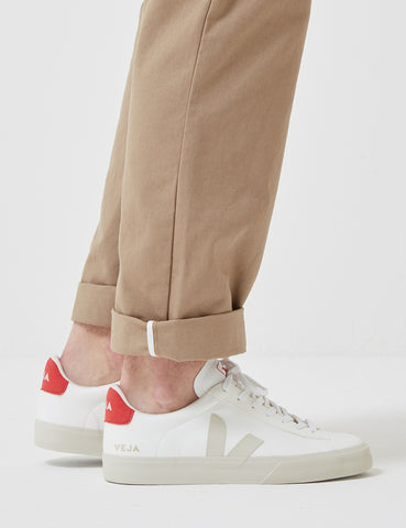 Veja Campo C.W.L Trainers - White Pierre/Pekin Red