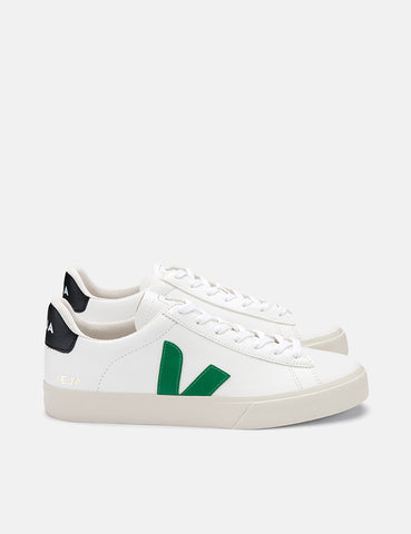 Veja Campo Trainers (Chrome Free Leather) - White/Emeraude/Black