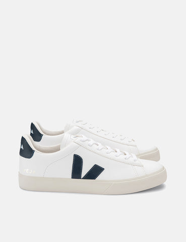 Womens Veja Campo Trainers (Chrome Free Leather) - White/Nautico Blue