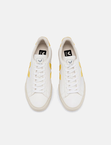 Womens Veja Campo Trainers (Chrome Free Leather) - White/Tonic Yellow