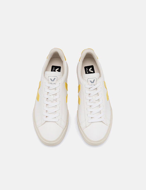 Veja Campo Trainers (Chrome Free Leather) - White/Tonic Yellow