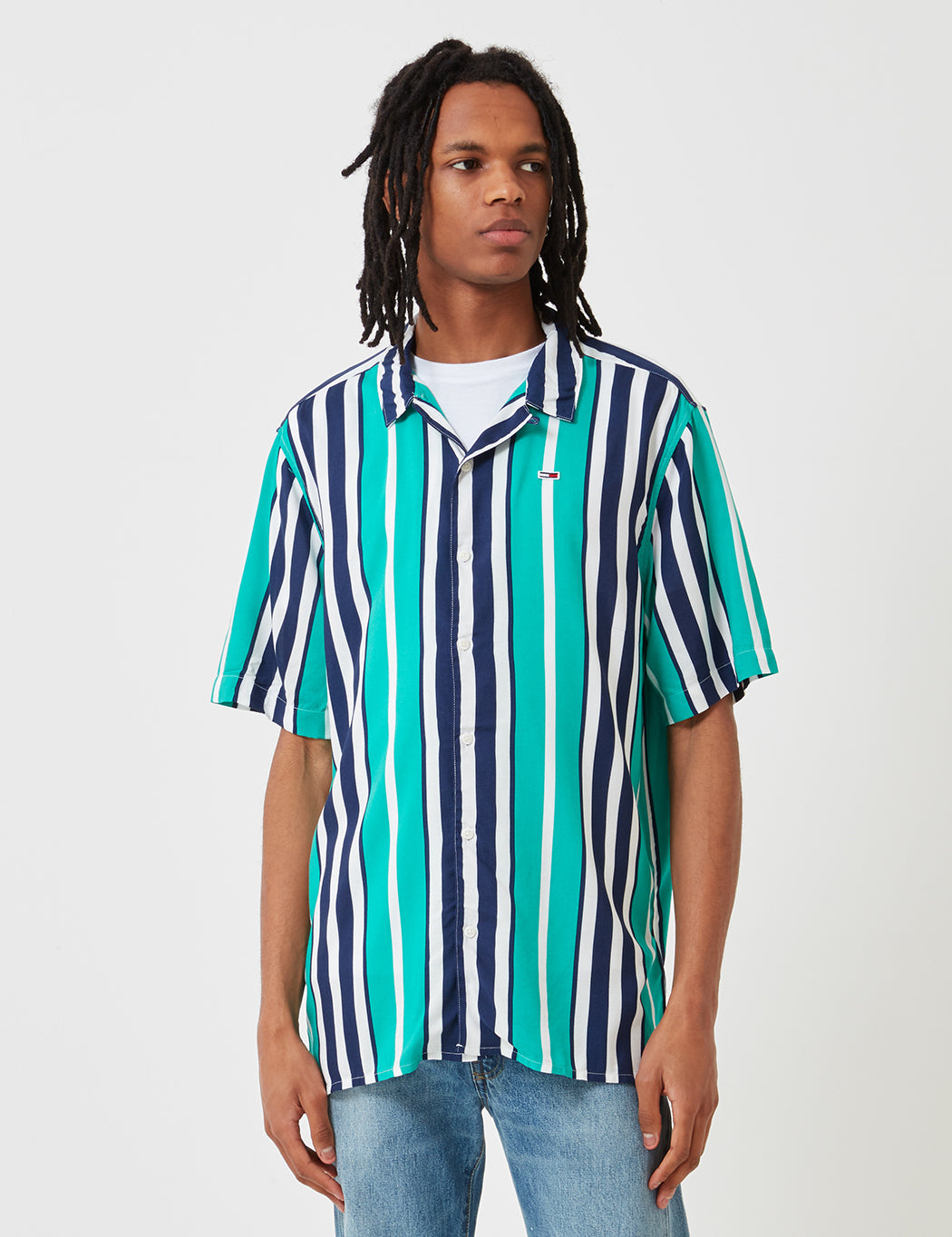7d53f75a Tommy Hilfiger Camp Stripe Shirt - Dynasty Green/Blue | URBAN EXCESS.