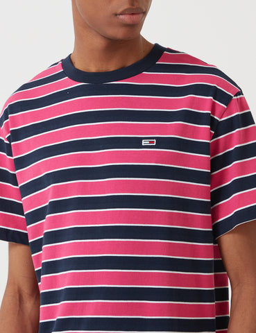 Tommy Hilfiger Bold Stripe T-Shirt - Fushia Purple/Black