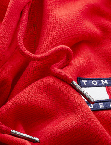 Tommy Jeans Badge Logo Hoodie - Deep Crimson