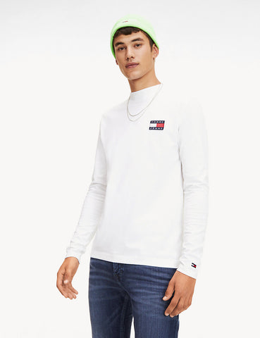 Tommy Jeans Mock Neck T-Shirt - White