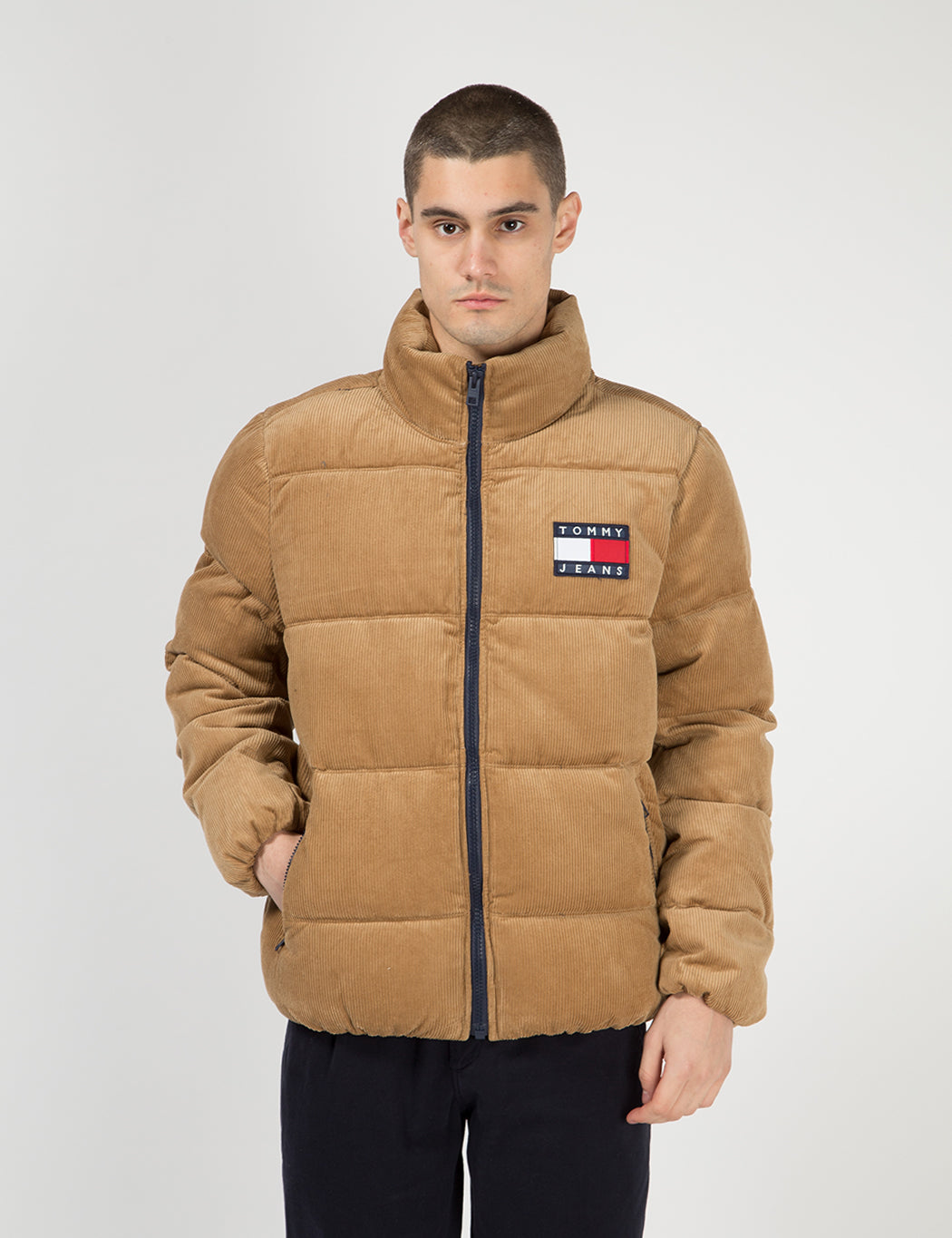 Tommy Jeans Corduroy Puffa Jacket - Tigers Eye | URBAN EXCESS.