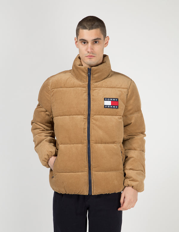 Tommy Jeans Corduroy Puffa Jacket - Tigers Eye