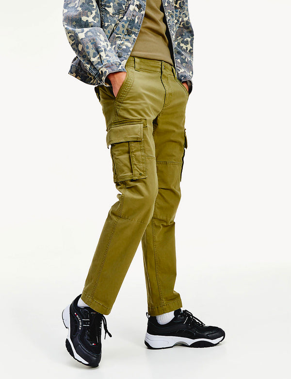 Tommy Jeans Straight Fit Cargo Pant (Stretch Cotton) - Uniform Olive
