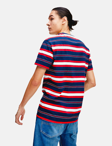 Tommy Jeans Stripe Logo T-Shirt - Twilight Navy/Multi