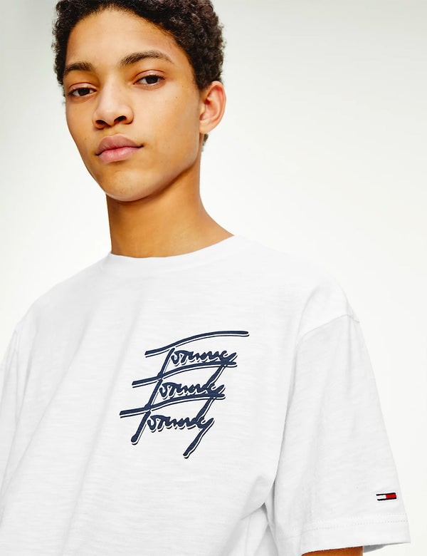 Tommy Jeans Repeat Script Logo T-Shirt (Organic Cotton) - White