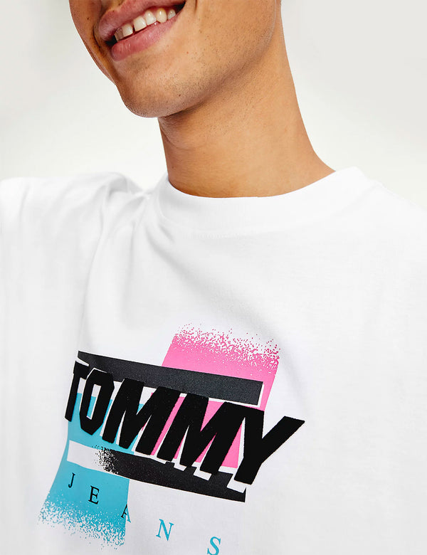 T-Shirt à Logo Tommy Jeans Faded - Blanc
