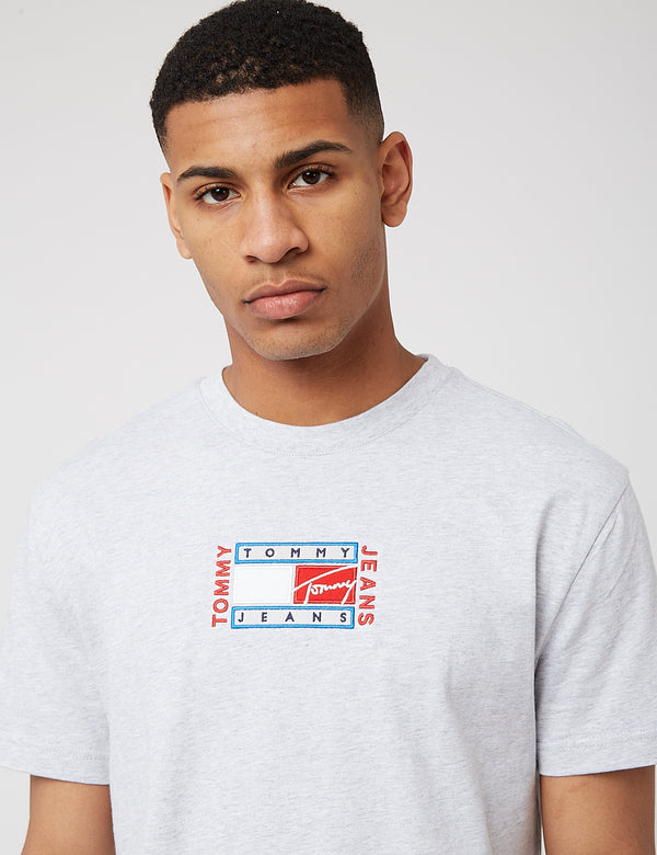 Tommy Jeans Timeless Tommy Flag T-Shirt - Silver Grey Heather