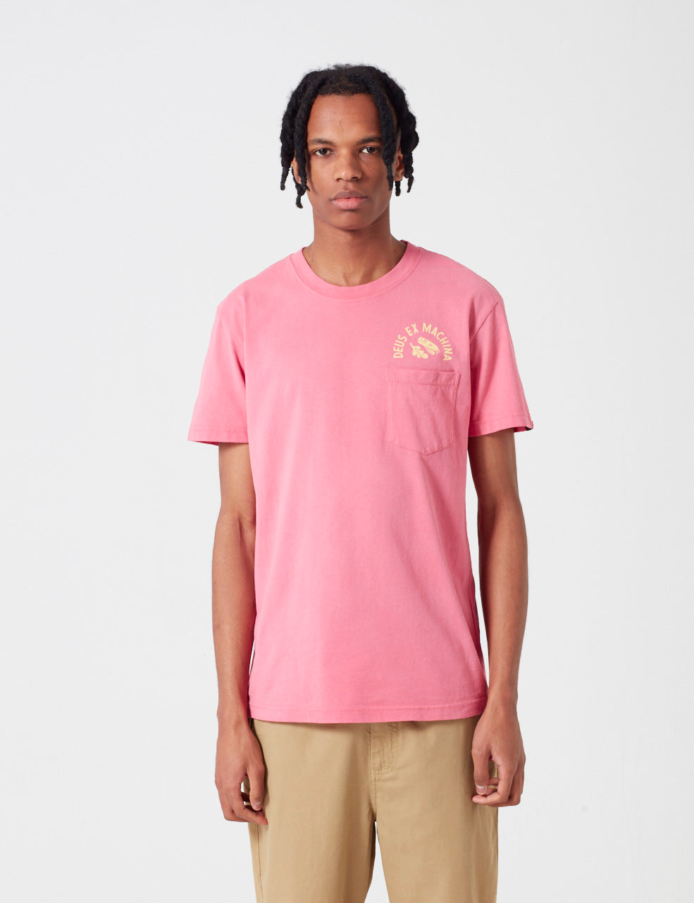 Deus Ex Machina Sunbleached Responsibilities T-shirt - Rose Red / Yellow
