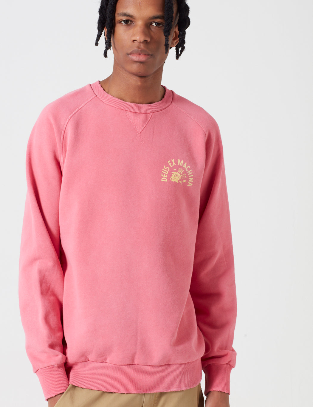 Deus Ex Machina Enthusiasm Crewneck Sweatshirt - Rose Red/Yellow