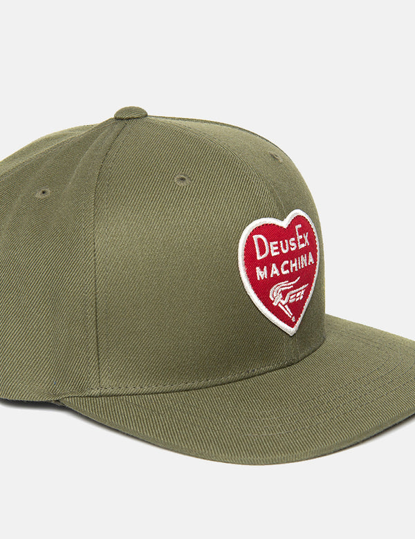 Deus Ex Machina Heart Baseball Cap - Olive Green