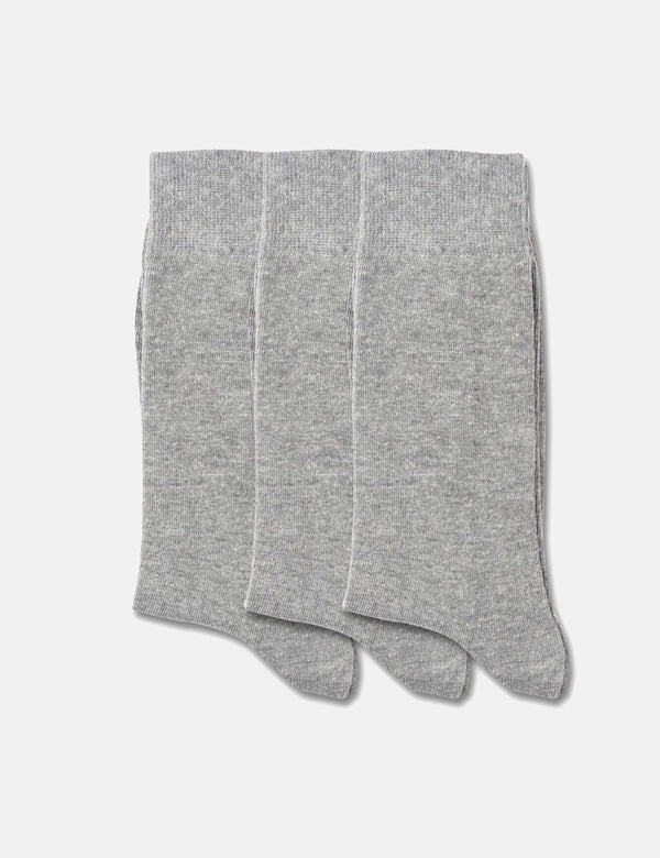 Democratique Solid Socks 3 Pack - Light Grey Melange