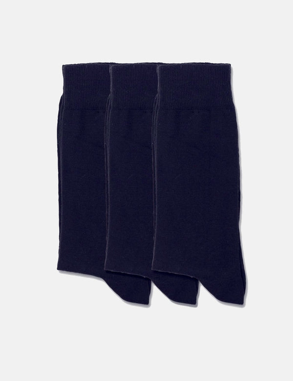 Democratique Solid Socks 3 Pack - Navy - Article