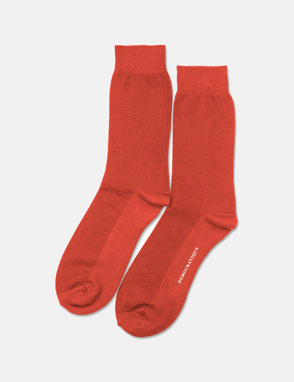 Democratique Originals Champagne Pique Socks - Blood Orange
