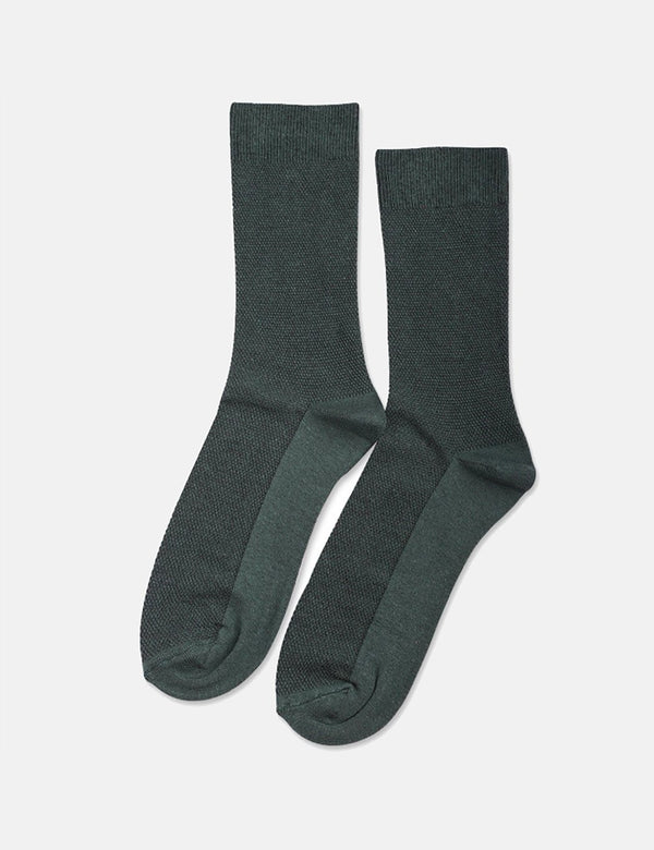 Democratique Originals Champagne Pique Socks - Deep Green