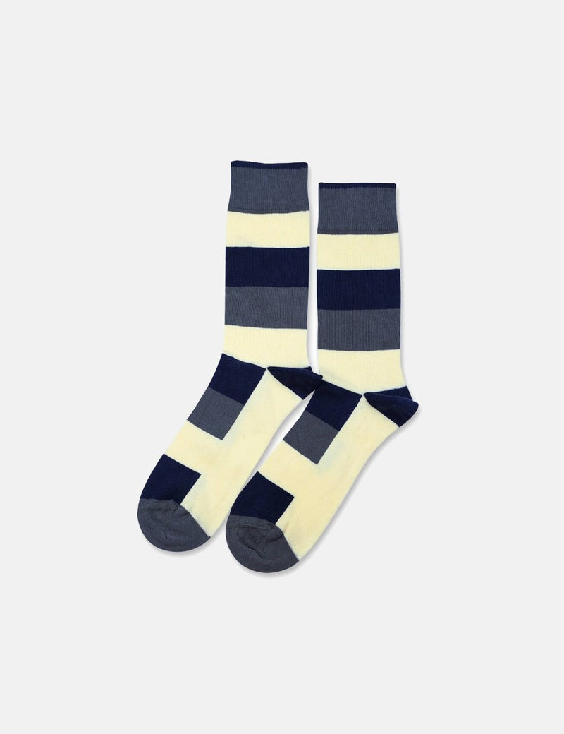 Democratique Originals Heavy Stripe Socks - Army Green/Pale Yellow/Shaded Blue