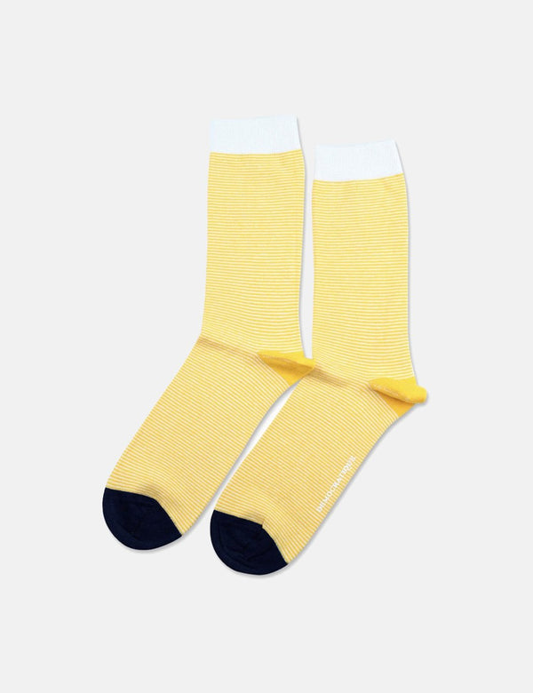 Democratique Originals Ultralight Stripe Socks - Dominant Yellow/Off White/Navy Blue