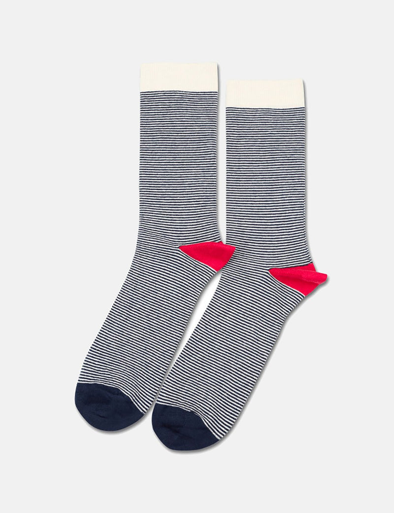 Democratique Ultralight Stripe Socks - Off White/Pearl Red